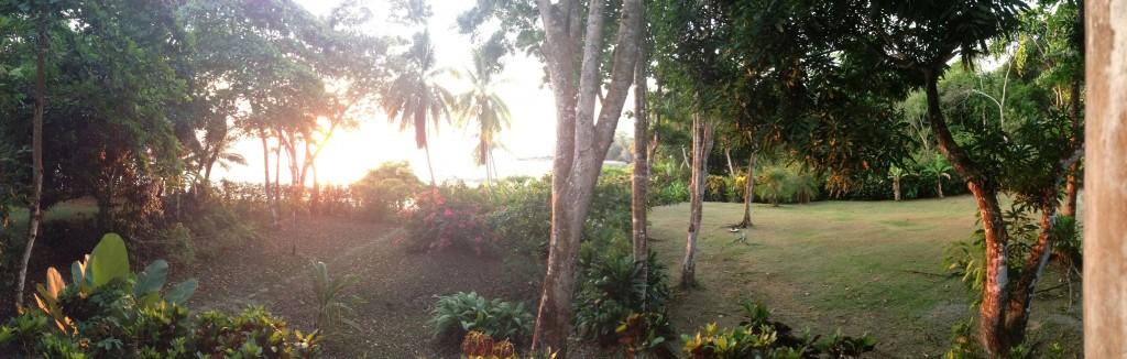 Panorama of yard from Casa Linda porch