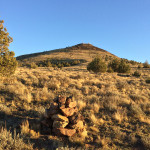 Gray Butte and rock cairn