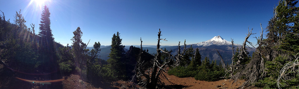 Panorama looking east to Mount Hood at the red cinder cone bluff.