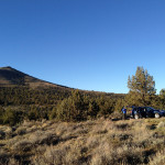 The Subaru tucked out of view where we camped
