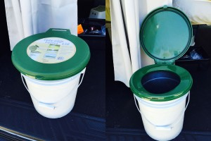 Our $20 toilet solution: old 5-gallon bucket with lid and seat.