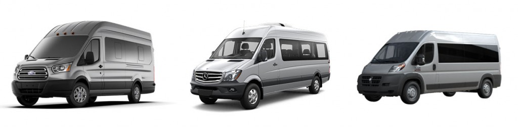 left to right: Ford Transit - Mercedes Sprinter - Dodge Promaster
