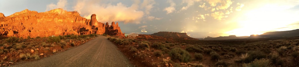Sunset panorama at Fisher Towers.