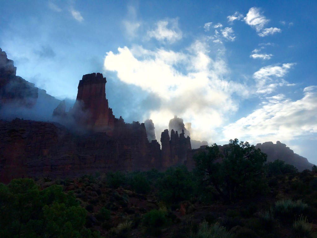 Morning fog and clouds at Fisher Towers