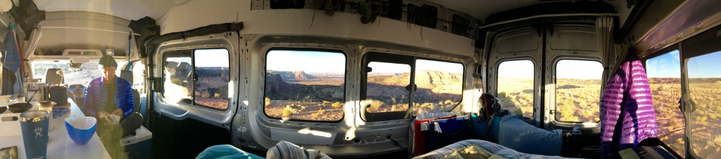 "Panorama of van interior, Canyon Rims in the ""beyond"""