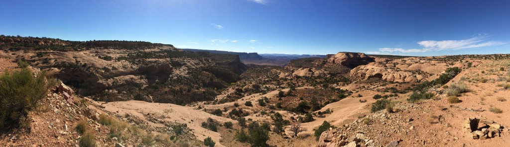 Panorama of Canyon Rims. We parked for the night just to the right of the fire circle.