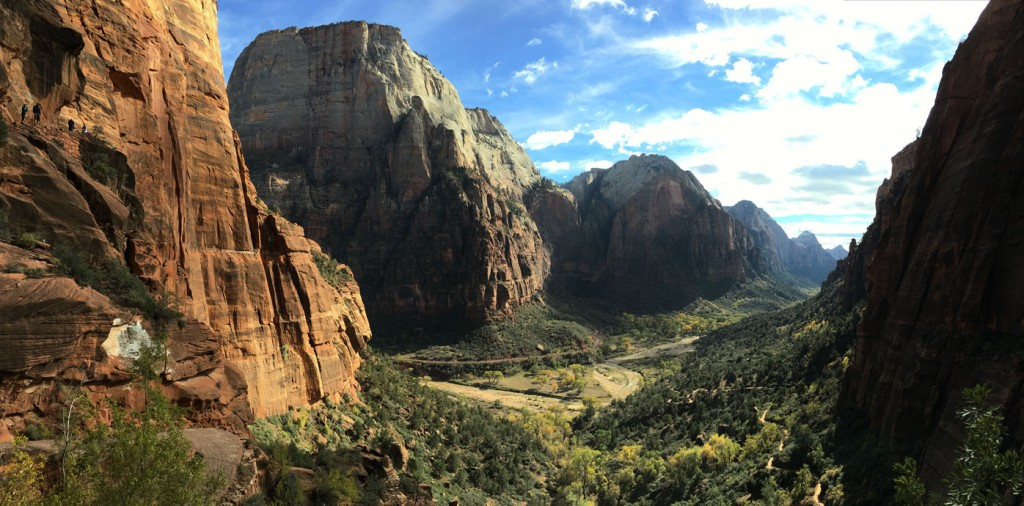 Beautiful shot of the Zion Valley from base of Angel's Rest