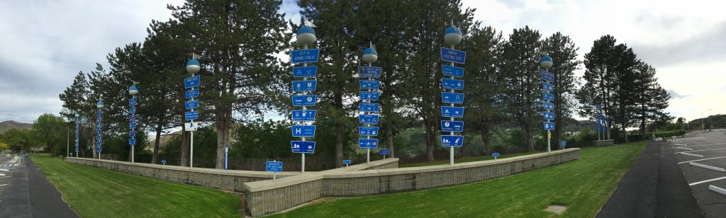 1950s era sign posts near the Grand Coulee Dam