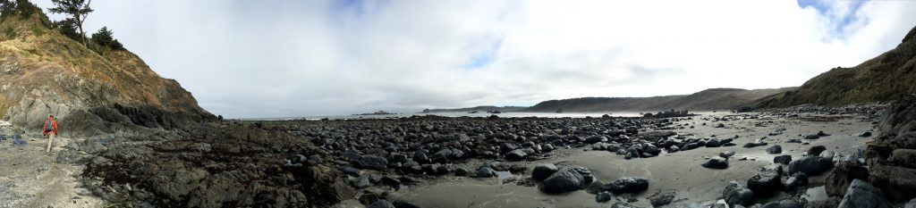 Panorama of Cape Blanco's north beach, low tide