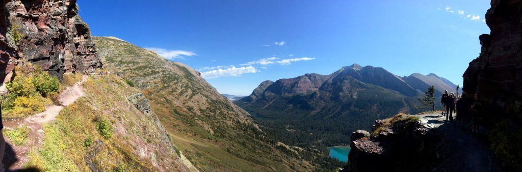 Panorama of a section of the Grinnel Glacier Trail. Grinnell Lake below.