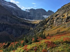 Fall color, Grinnell Glacier and Grinnell Falls at the center