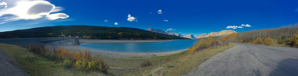 Low water panorama at the Sherbourne Lake dam, east side of GNP