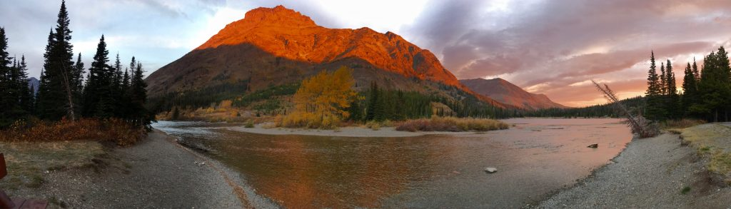 Stunning sunrise at Two Medicine Lake